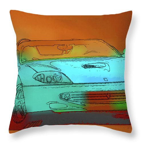 Ferrari Throw Pillow featuring the painting Ferrari 3 by Jeelan Clark