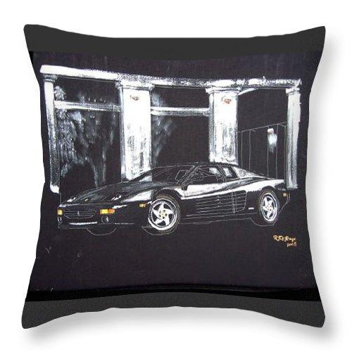 348 Gtr Testarrossa Throw Pillow featuring the painting Ferrari 348 Gtr Testarrossa by Richard Le Page