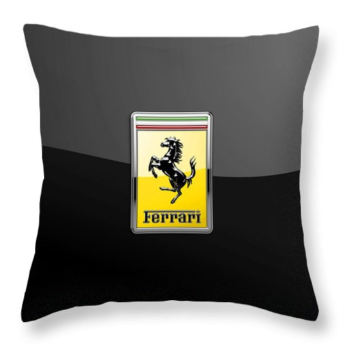 �auto Badges� Collection By Serge Averbukh Throw Pillow featuring the photograph Ferrari 3D Badge- Hood Ornament on Black by Serge Averbukh