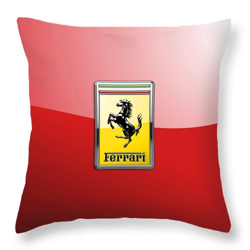 �auto Badges� Collection By Serge Averbukh Throw Pillow featuring the photograph Ferrari 3d Badge-hood Ornament On Red by Serge Averbukh
