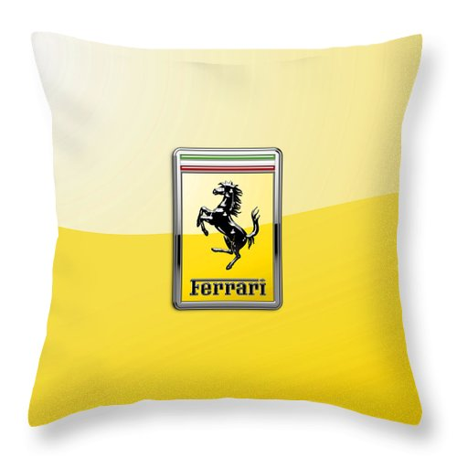 �auto Badges� Collection By Serge Averbukh Throw Pillow featuring the photograph Ferrari 3D Badge- Hood Ornament on Yellow by Serge Averbukh