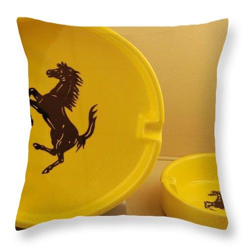 Stallion Throw Pillow featuring the photograph Ferrari Ash Catchers by Rob Hans
