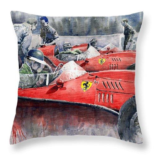 Car Throw Pillow featuring the painting Ferrari Dino 246 F1 1958 Mike Hawthorn French Gp by Yuriy Shevchuk