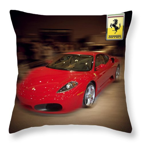 �auto Corner� Collection By Serge Averbukh Throw Pillow featuring the photograph Ferrari F430 - The Red Beast by Serge Averbukh