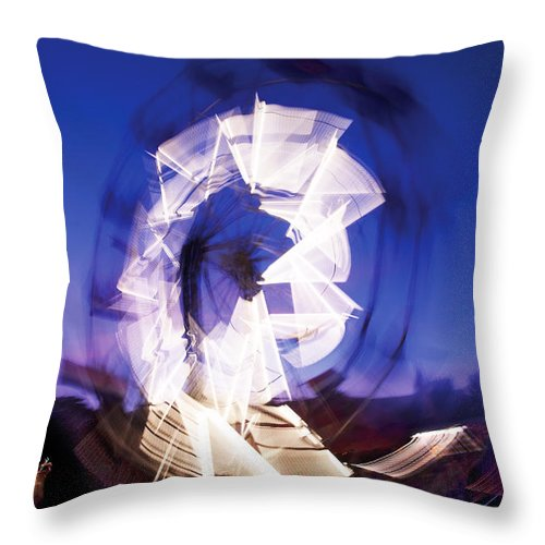 Ferris Wheel Throw Pillow featuring the photograph Ferris Wheel At Dusk-3 by Steve Somerville