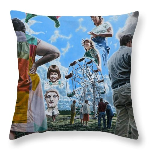 Woman Throw Pillow featuring the painting Ferris Wheel by Dave Martsolf