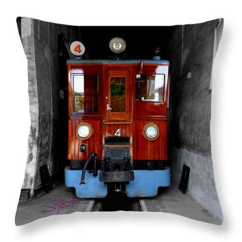 Train Throw Pillow featuring the photograph Ferrocarrril De Soller by Charles Stuart