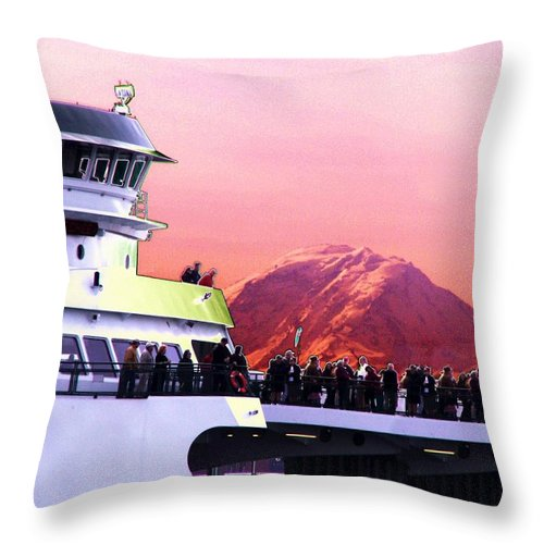 Seattle Throw Pillow featuring the digital art Ferry And Da Mountain by Tim Allen