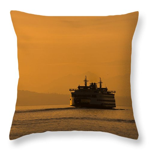 Ferry Throw Pillow featuring the photograph Ferry At Sunset by Chad Davis