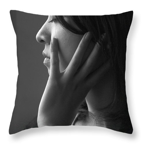 Woman Girl Candid Monochrome Hand Throw Pillow featuring the photograph Ferry Girl by Sheila Smart Fine Art Photography