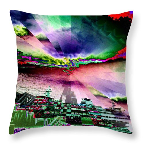 Seattle Throw Pillow featuring the digital art Ferry Illusion by Tim Allen