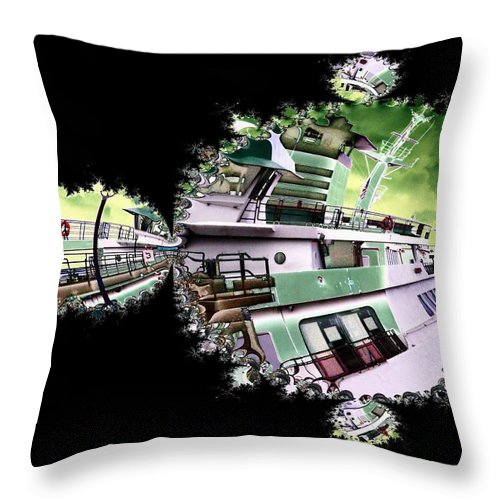 Seattle Throw Pillow featuring the digital art Ferry In Fractal by Tim Allen