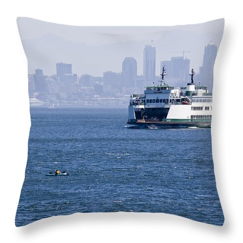 Ferry Throw Pillow featuring the photograph Ferry Versus Kayaker by Chad Davis