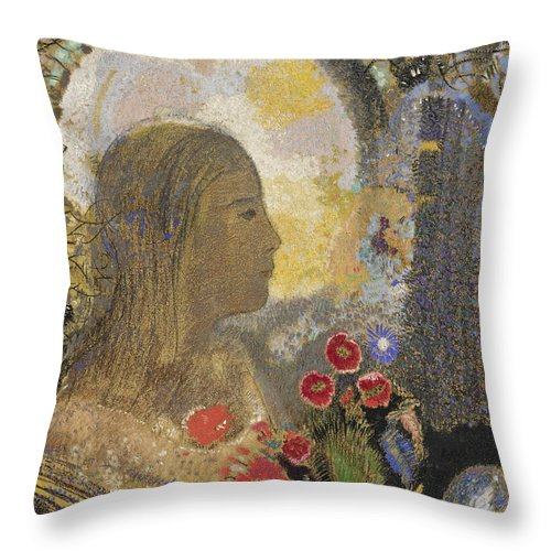 Odilon Redon Throw Pillow featuring the drawing Fertility. Woman In Flowers by Odilon Redon