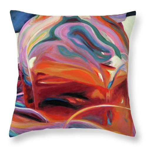 Glass Throw Pillow featuring the painting Fervor by Trina Teele