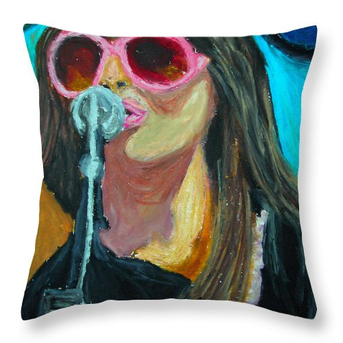 Female Singer Throw Pillow featuring the painting Festival Diva II by Michael Lee