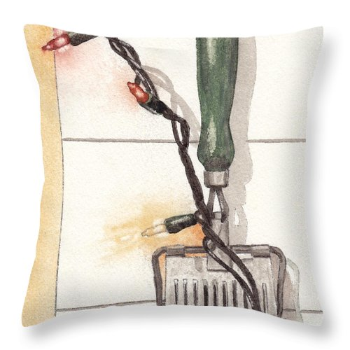 Herb Throw Pillow featuring the painting Festive Antique Herb Cutter by Ken Powers