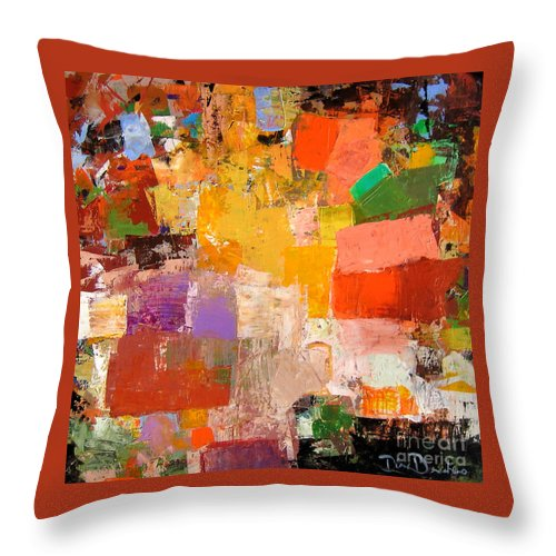 Modern Abstract Paintings Throw Pillow featuring the painting Festivity by Diane Desrochers