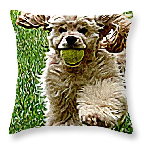Dog Throw Pillow featuring the painting Fetch by Laura Brightwood