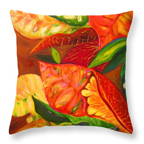 Throw Pillow featuring the painting feuilles de Floride by KCatia Creole Art