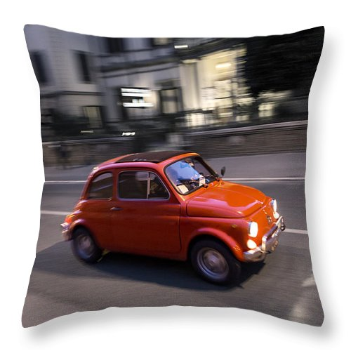 Fiat 500 Throw Pillow featuring the photograph Fiat 500, Italy by David Ortega Baglietto