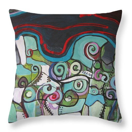 Fiddleheads Paintings Throw Pillow featuring the painting Fiddleheads 5 by Seon-Jeong Kim
