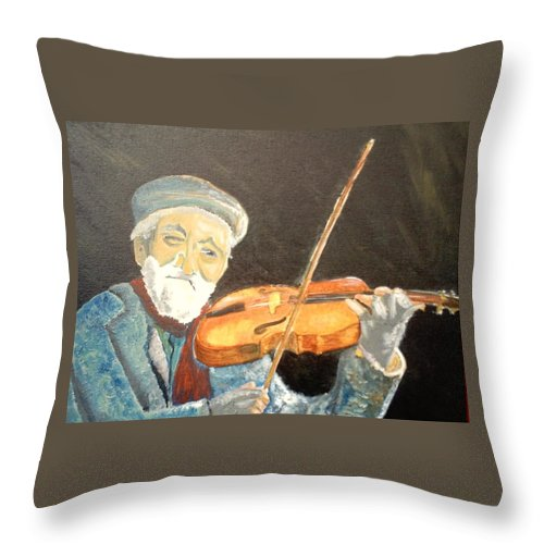 Hungry He Plays For His Supper Throw Pillow featuring the painting Fiddler Blue by J Bauer