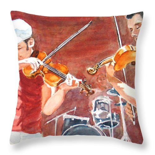 Musicians Throw Pillow featuring the painting Fiddles by Karen Ilari