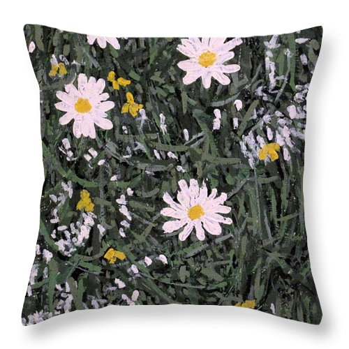 Daisies Throw Pillow featuring the painting Field Daisies by Ian MacDonald