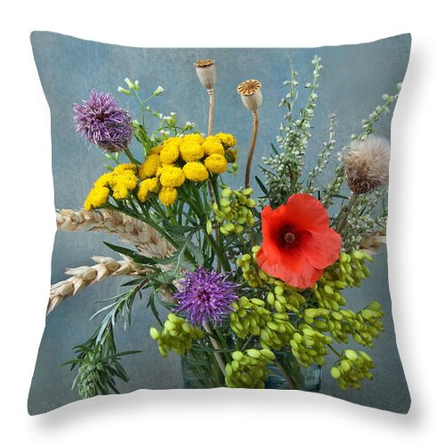 Field Throw Pillow featuring the photograph Field Flowers by Manfred Lutzius