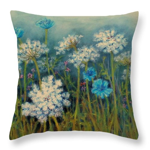 Queen Annes Lace Throw Pillow featuring the painting Field Flowers With Queen Annes Lace by Nancy Heindl