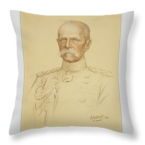 Lady Feodora Gleichen Throw Pillow featuring the painting Field Marshall Earl Roberts by Feodora Gleichen