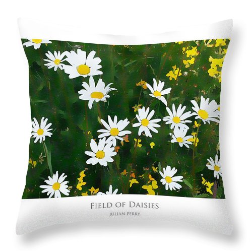 Daisies Throw Pillow featuring the digital art Field Of Daisies by Julian Perry