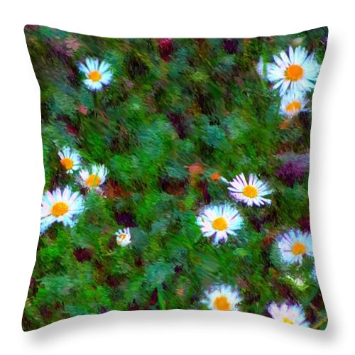 Digital Photograph Throw Pillow featuring the photograph Field Of Daisys by David Lane