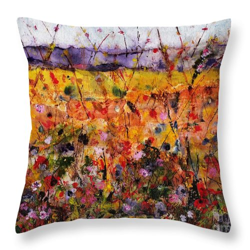 Flowers Throw Pillow featuring the painting Field Of Dreams by Frances Marino