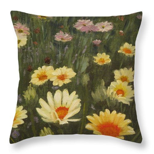 Flower Throw Pillow featuring the painting Field Of Flowers by Lea Novak