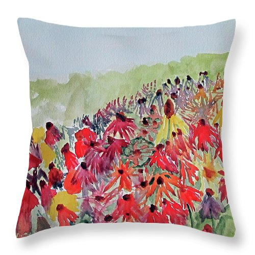 Flower Throw Pillow featuring the painting Field Of Flowers by Sandy McIntire