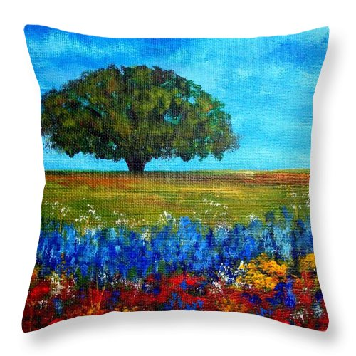 Landscape Throw Pillow featuring the painting Field of Flowers by Tami Booher