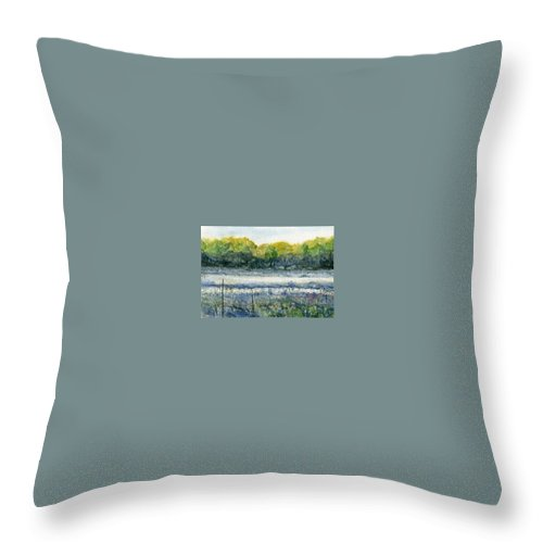 Minnesota Throw Pillow featuring the painting Field Of Frost by Mary Tuomi