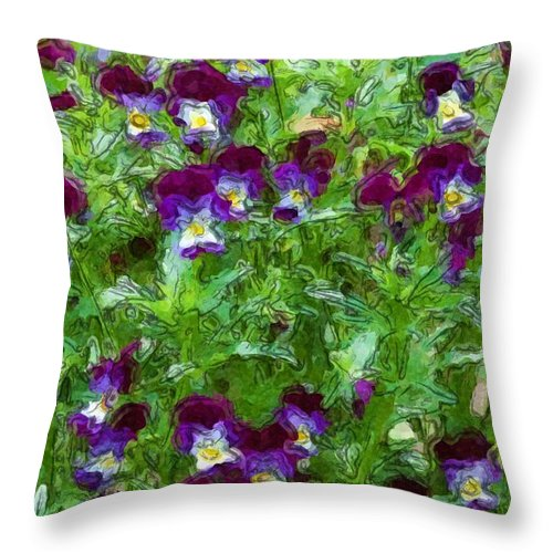 Digital Photograph Throw Pillow featuring the photograph Field Of Pansy's by David Lane