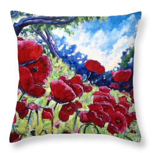 Poppies Throw Pillow featuring the painting Field Of Poppies 02 by Richard T Pranke