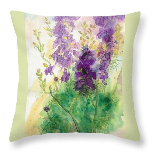 Watercolor Throw Pillow featuring the painting Field Of Purple by Vicki Housel