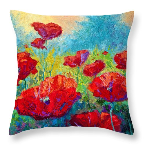 Poppies Throw Pillow featuring the painting Field Of Red Poppies by Marion Rose
