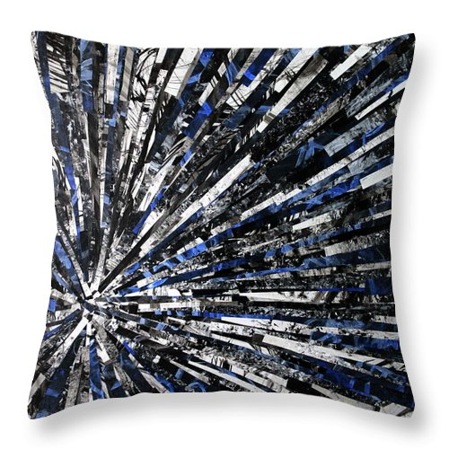 Abstract Throw Pillow featuring the mixed media Field Of Sound by Michelle Bowden