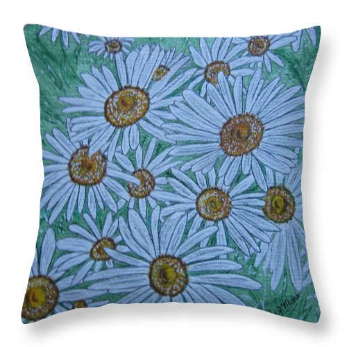 Field Throw Pillow featuring the painting Field Of Wild Daisies by Kathy Marrs Chandler