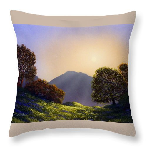 Landscape Throw Pillow featuring the painting Field Of Wildflowers by Frank Wilson