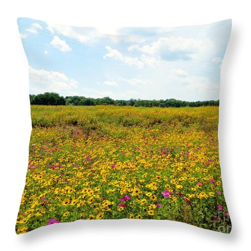 Field Of Wildflowers Throw Pillow featuring the pyrography Field Of Wildflowers by Tim Townsend