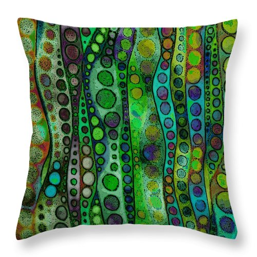 Abstract Field Space Lines Circles Green Yellow Aqua Gold Throw Pillow featuring the mixed media Field Space by Susan Epps Oliver