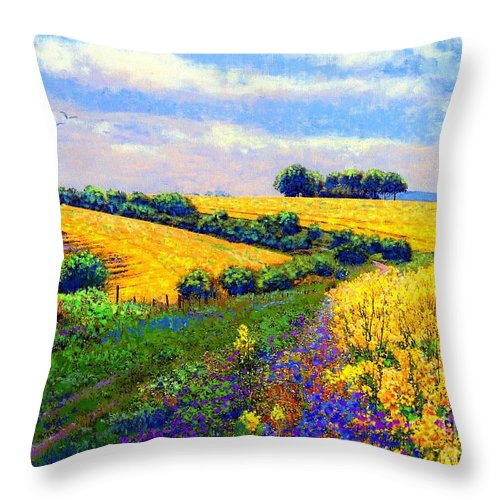 Sun Throw Pillow featuring the painting Fields Of Gold by Jane Small