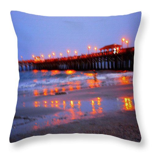 Pier Throw Pillow featuring the photograph Fiery Pier by Phil Burton
